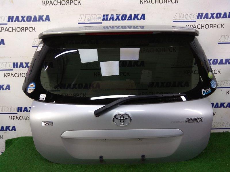 Дверь задняя Toyota Corolla Runx NZE121 1NZ-FE 2001 задняя ХТС, в сборе, серая (1E7), камера З/Х, спойлер,