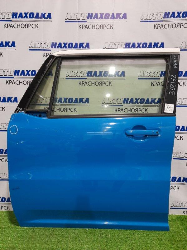 Дверь Suzuki Hustler MR41S R06A 2014 передняя левая передняя, левая, в сборе, голубая, без петель,