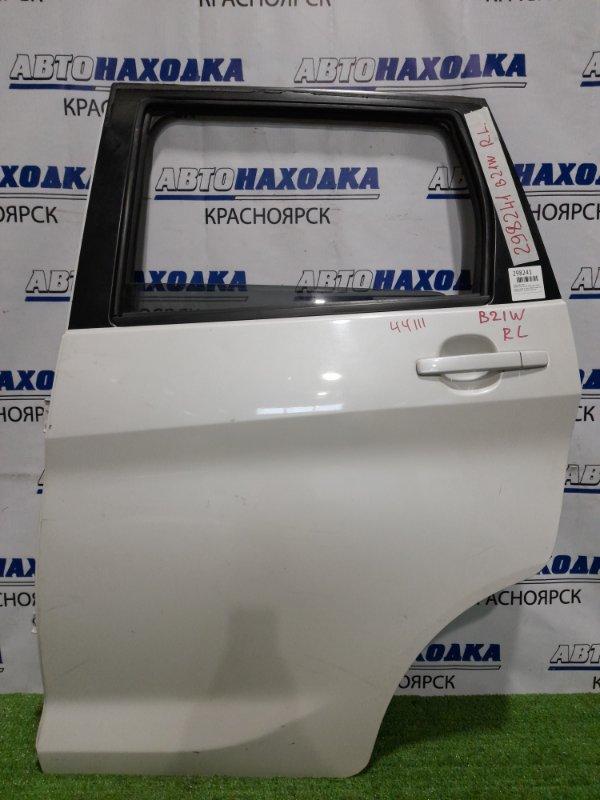 Дверь Nissan Dayz B21W 3B20 2013 задняя левая задняя, левая, в сборе, белый перламутр, потёртости,