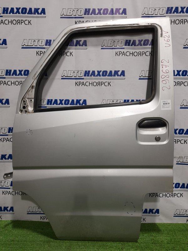 Дверь Mitsubishi Minicab U62V 3G83 1999 передняя левая передняя, левая, в сборе, серебристая,