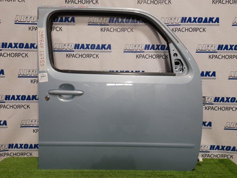 Дверь Daihatsu Mira Cocoa L675S KF 2009 передняя правая ХТС, передняя, правая, в сборе, голубая (B69)