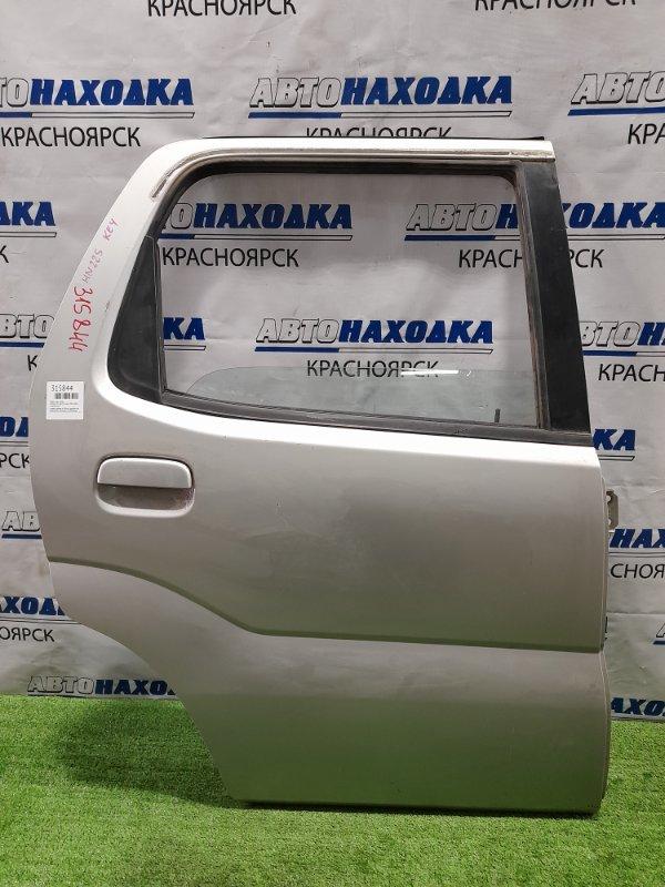 Дверь Suzuki Kei HN22S K6A 2000 задняя правая задняя, правая, в сборе, серебристая, царапинки,