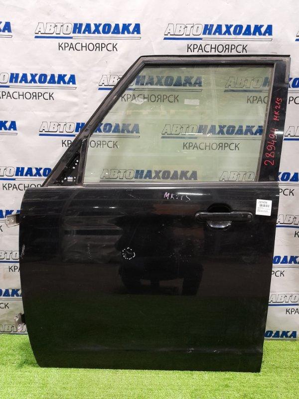 Дверь Suzuki Palette MK21S K6A 2008 передняя левая передняя, левая, в сборе, чёрная, вмятинка,