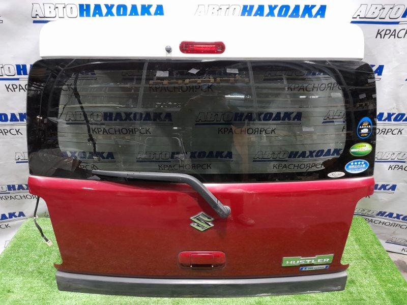 Дверь задняя Suzuki Hustler MR41S R06A 2014 задняя в сборе, красная, дорестайлинг, с дворником, с