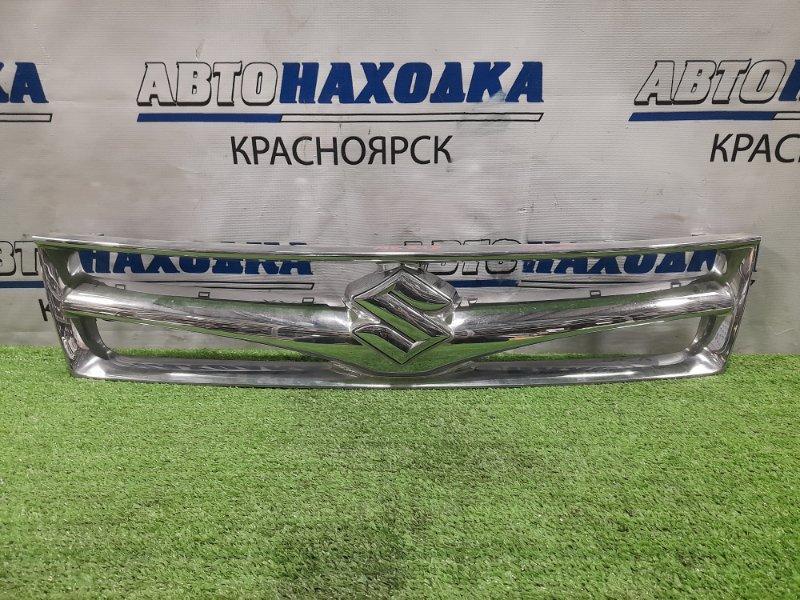 Решетка радиатора Suzuki Palette MK21S K6A 2008 хром, отломаны 3 защёлки по низу и левая