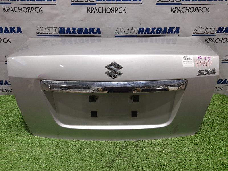 Крышка багажника Suzuki Sx-4 YC11S M15A 2007 задняя серебристая, вмятинка, небольшие царапинки,
