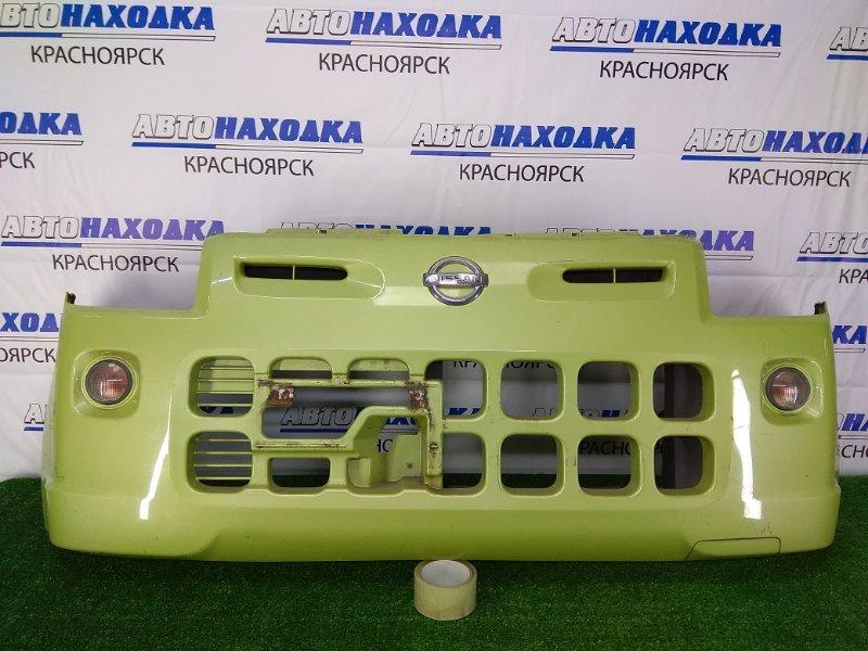 Бампер Nissan Pino HC24S K6A 2007 передний передний, зеленый, с повторителями, потертости,