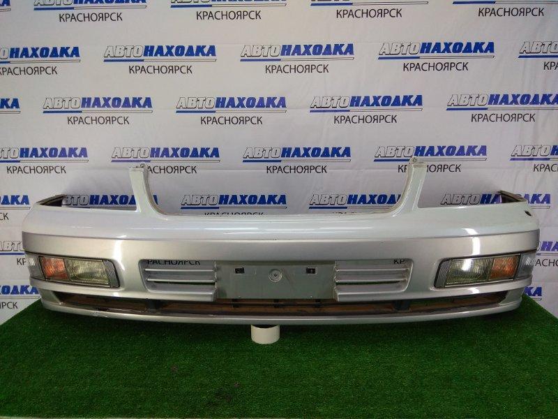 Бампер Nissan Gloria HY33 VQ30DET 1997 передний передний, белый перламутр (5T3) , 2 модели рестайлинг,