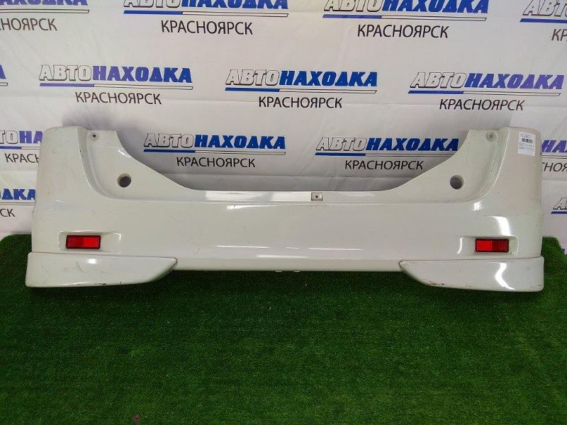 Бампер Suzuki Palette MK21S K6A 2008 задний задний, белый перламутр, с накладками, с катафотами