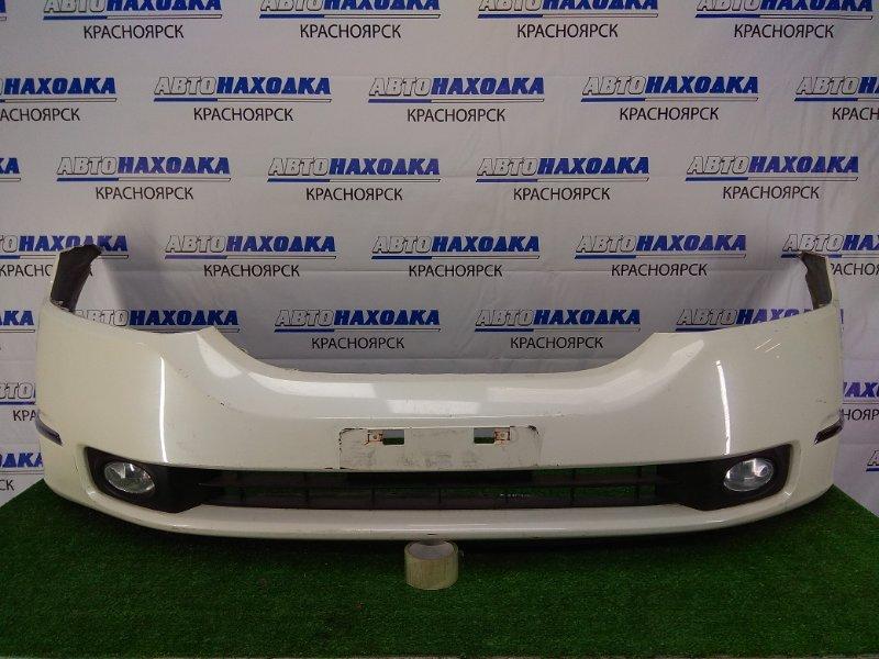 Бампер Honda Odyssey RB1 K24A 2003 передний передний, 1 модель, белый перламутр (NH624P), с туманками