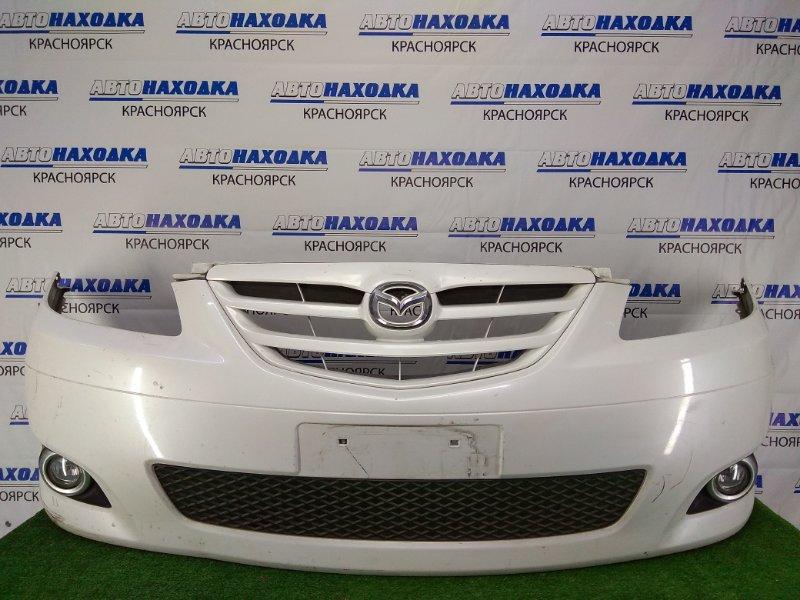 Бампер Mazda Mpv LW3W L3 2003 передний передний, белый перламутр, 3 модель (2-й рестайлинг), с