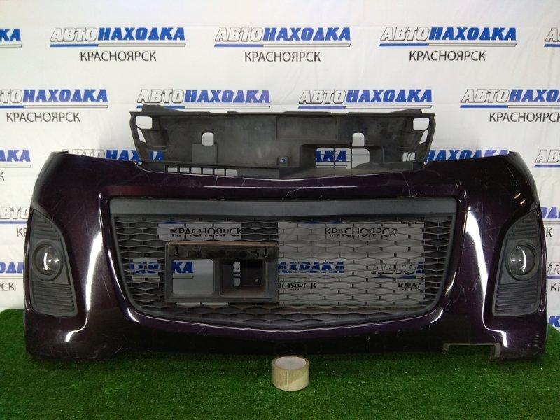 Бампер Mazda Az-Wagon MJ23S K6A 2008 передний передний, фиолетовый (ZED), с туманками, 4 поколение.