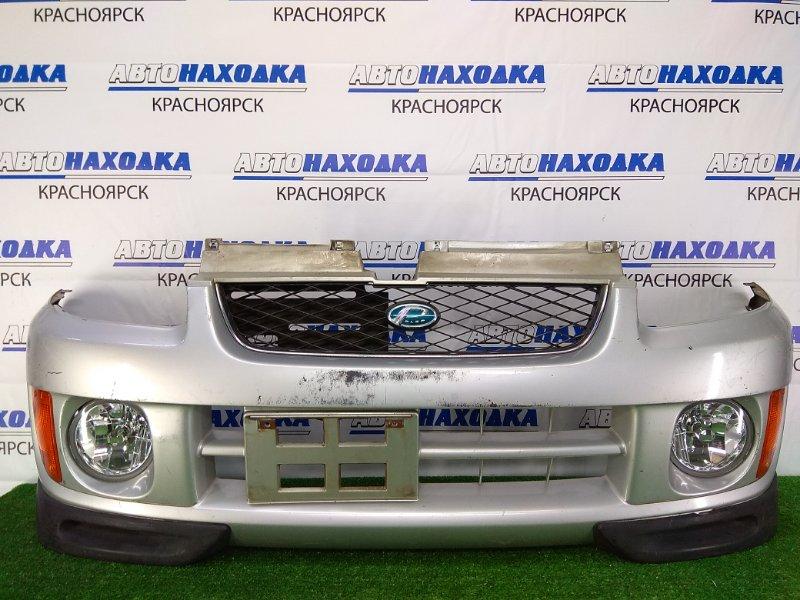 Бампер Subaru Pleo RA2 EN07 1998 передний передний, серебристый, 1 и 2 модель (98-02 г.), с туманками