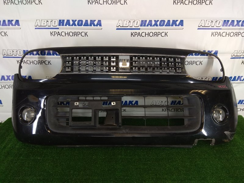 Бампер Suzuki Alto Lapin HE22S K6A 2008 передний передний, черный, с туманками, хром ОК, 2 поколение,