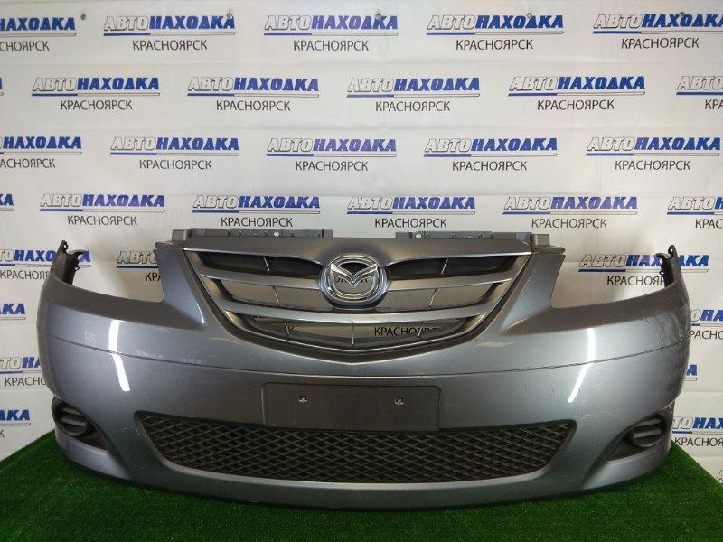 Бампер Mazda Mpv LW3W L3 2003 передний передний, серый, 3 модель (2-й рестайлинг), с заглушками, с