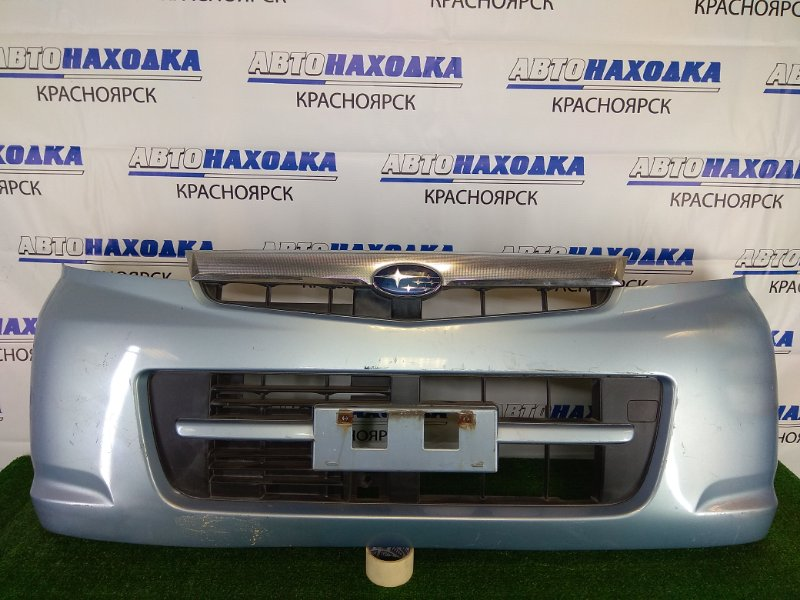 Бампер Subaru Stella RN1 EN07 2006 передний передний, голубой, с решеткой, дефект хрома на