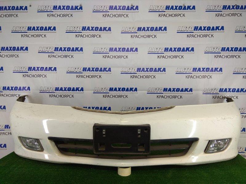 Бампер Honda Lagreat RL1 J35A 1999 передний передний, белый, с туманками (P0488), вырезаны отверстия