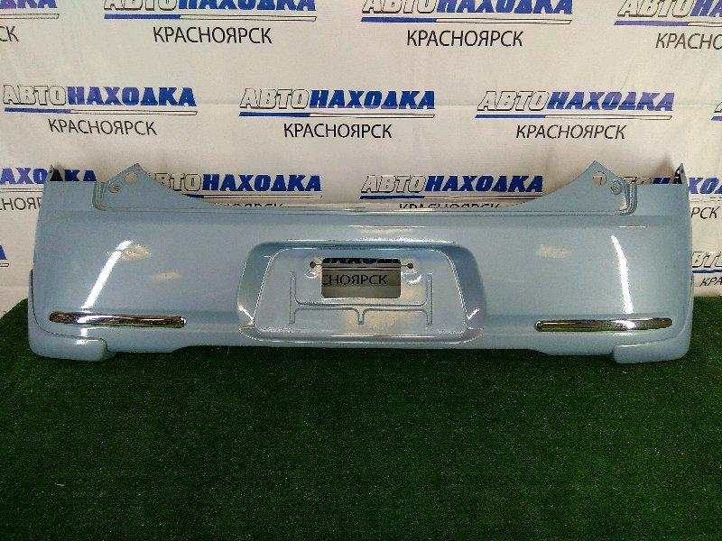 Бампер Daihatsu Mira Cocoa L675S KF 2009 задний ХТС, задний, голубой, с брызговиками, хром ОК.