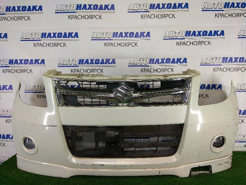 Бампер Suzuki Palette MK21S K6A 2008 передний передний, белый перламутр, с туманками, с накладкой