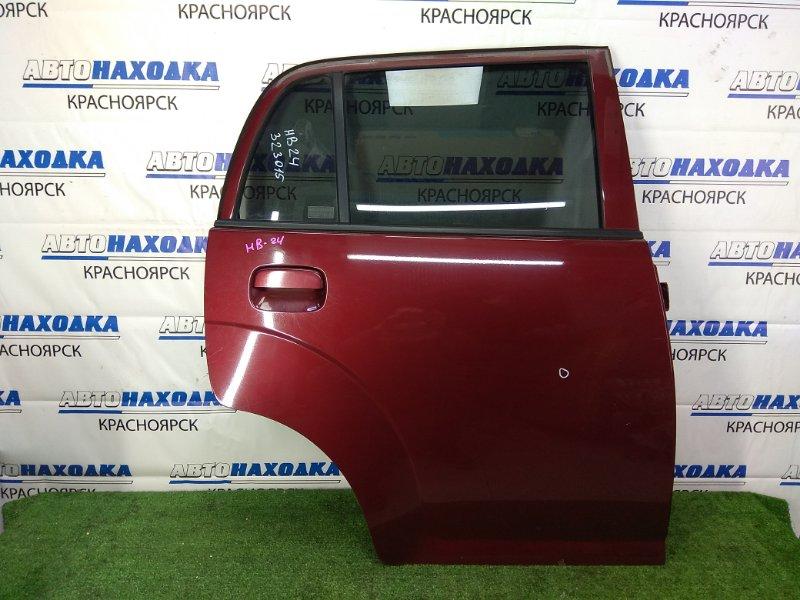 Дверь Mazda Carol HB24S K6A 2004 задняя правая задняя правая, в сборе, бордовая, вмятинка