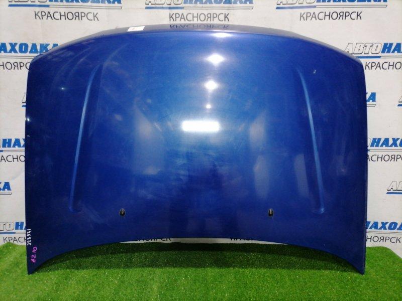 Капот Nissan Cube AZ10 CGA3DE 1998 передний синий, есть небольшая потёртость
