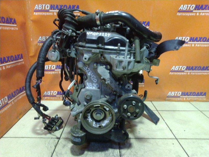 Двигатель Mitsubishi Ek Wagon B11W 3B20 GP7224 2WD. ТУРБО. БЕЗ КАТУШЕК, ГЕНЕРАТОРА, КОМПРЕССОРА КОНД.