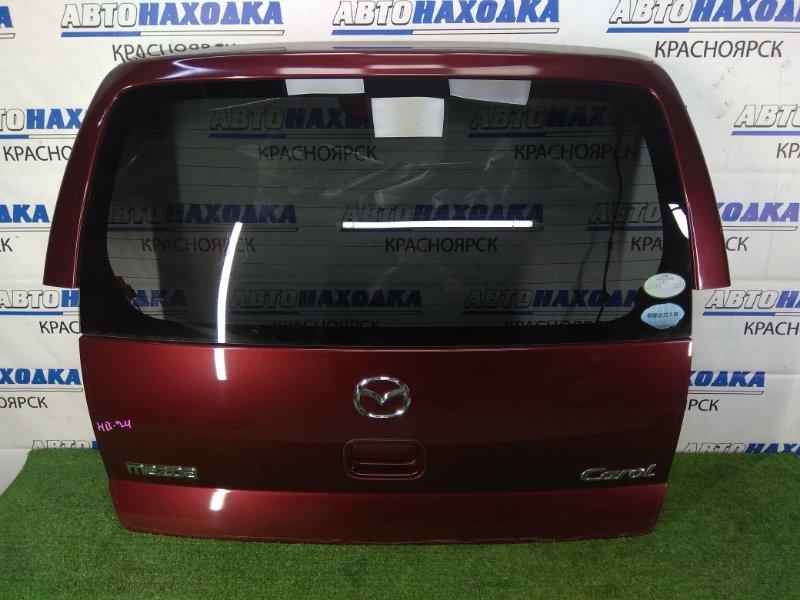 Дверь задняя Mazda Carol HB24S K6A 2004 задняя задняя, в сборе, бордовая, вмятинка сверху, в