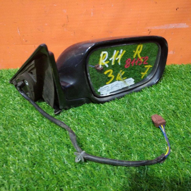 Зеркало Nissan Presea R11 GA15DE 1995 переднее правое 3 контакта некрашенное