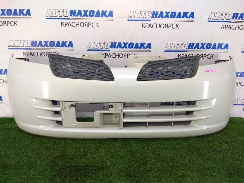 Бампер Nissan Moco MG21S K6A 2002 передний передний, белый перламутр (Z7T), с решетками радиатора,