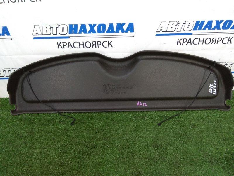 Полка багажника Nissan March AK12 CR12DE 2002 задняя жесткая полка в багажник, черная