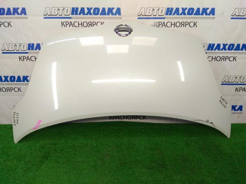 Капот Nissan Moco MG21S K6A 2002 передний белый перламутр (Z7T), есть царапинки и потертость до