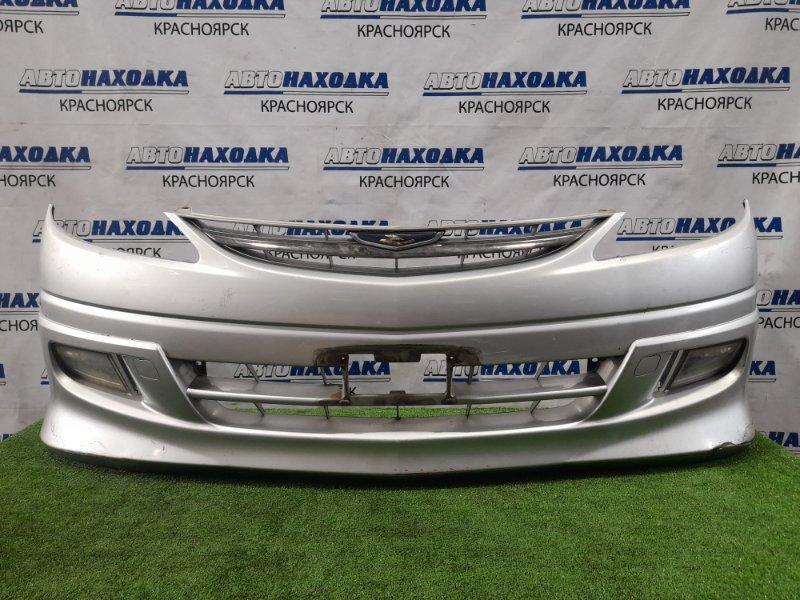 Бампер Toyota Estima ACR30W 1AZ-FE 2000 передний передний, с решеткой, туманками (44-19). Надорван в