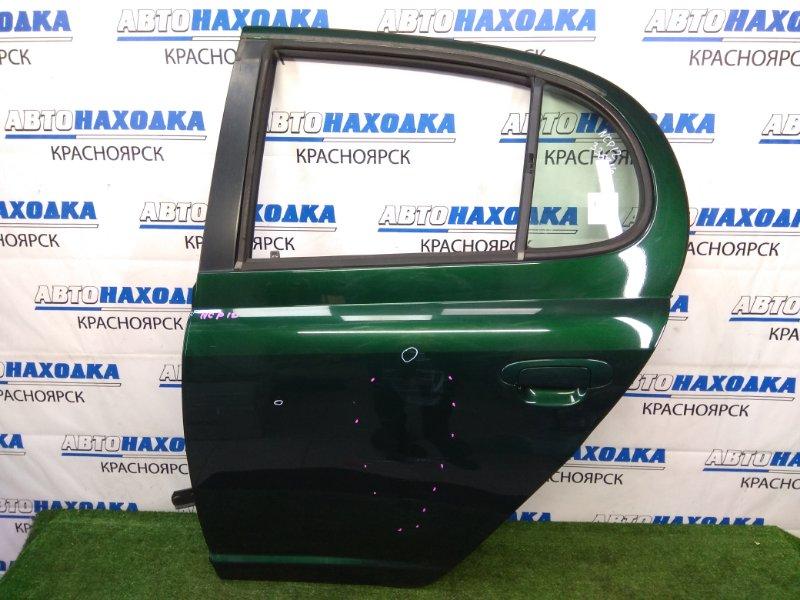 Дверь Toyota Platz NCP12 1NZ-FE 1999 задняя левая задняя левая, зеленая (6R4), в сборе, есть вмятинки,