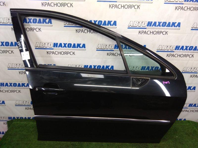 Дверь Peugeot 407 6D ES9A 2004 передняя правая В ХТС, передняя правая, черная (EXL), без стекла,