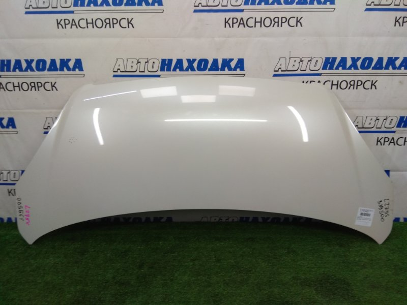 Капот Daihatsu Mira L275S KF-VE 2006 передний В ХТС, белый перламутр (W24), есть один скол по ЛКП