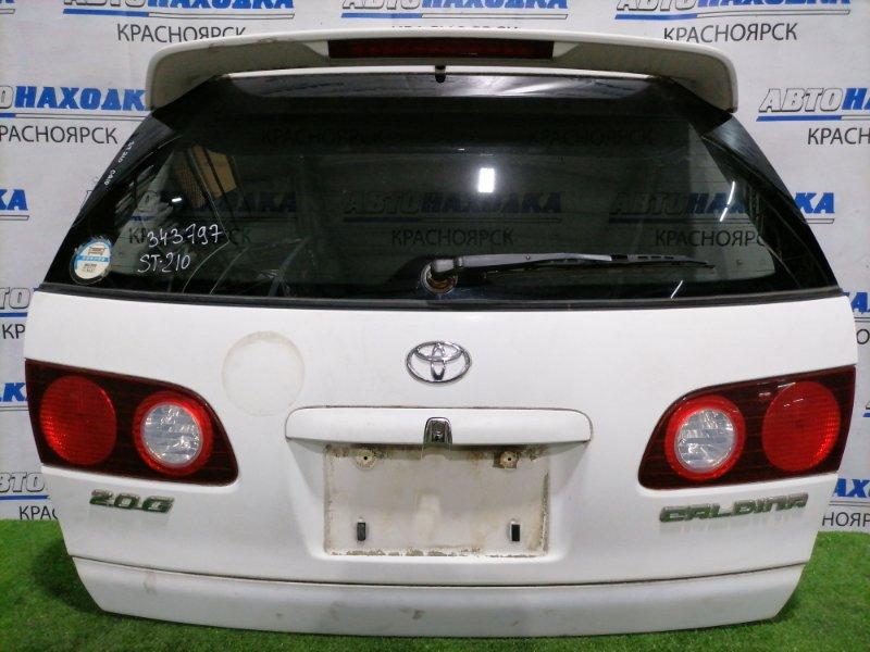 Дверь задняя Toyota Caldina ST210G 3S-FE 1997 задняя В сборе, дорестайлинг, с фонарями (21-43)