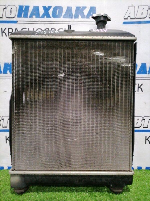 Радиатор двигателя Mitsubishi Minica H42V 3G83 1998 022030-0134 В сборе с диффузором и вентилятором,