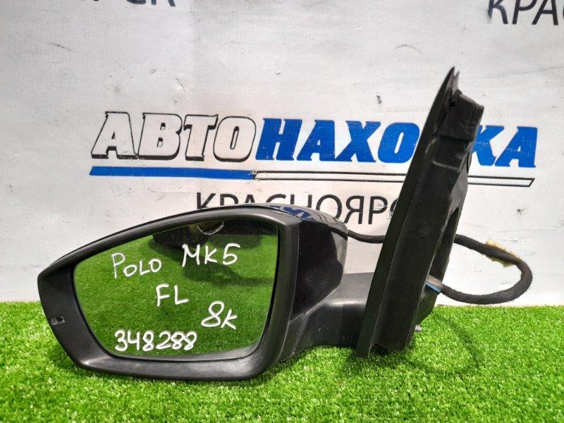 Зеркало Volkswagen Polo 6R1 CBZB 2008 переднее левое Левое с повторителем, 8 контактов. Есть