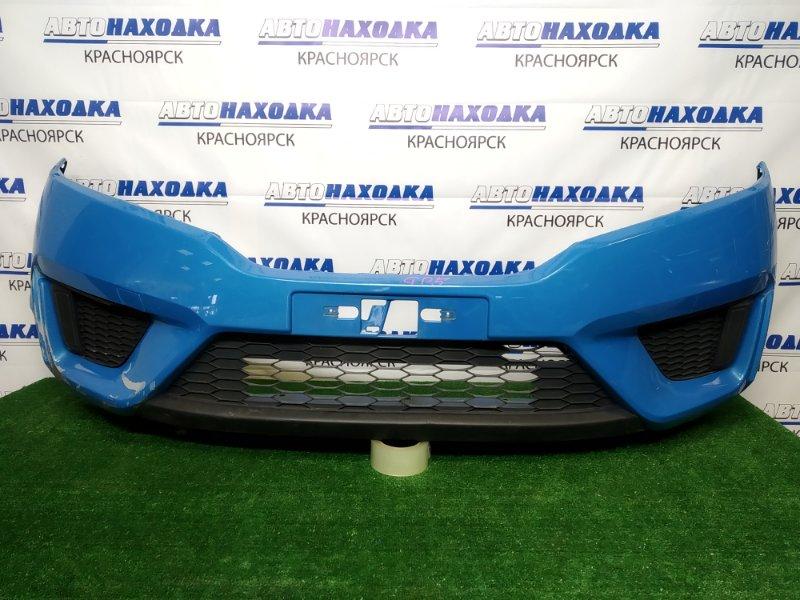 Бампер Honda Fit GP5 LEB 2013 передний передний, голубой (B595P), дорестайлинг, под ремонт и