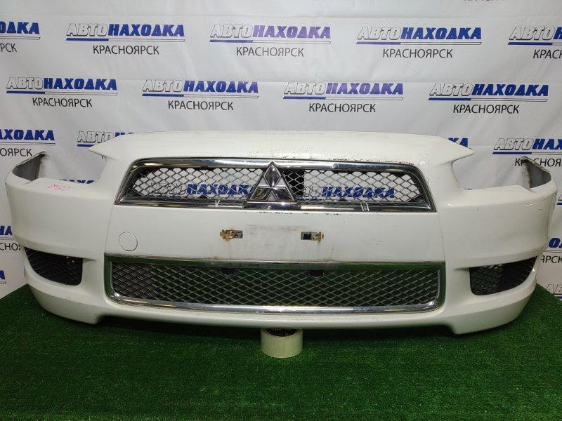 Бампер Mitsubishi Lancer CY4A 4B11 2007 передний передний, дорестайлинг, белый перламутр (W13B), с