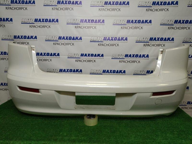 Бампер Mitsubishi Lancer CY4A 4B11 2007 задний задний, белый перламутр (W13B), седан, с катафотами