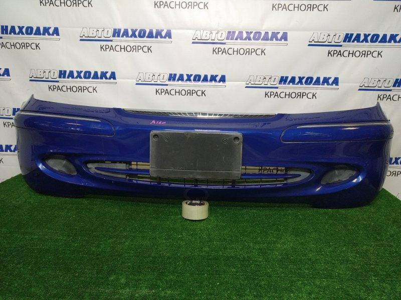 Бампер Mercedes-Benz A160 W168.033 M166 E16 2001 передний передний, синий (933U), рестайлинг, с заглушками,
