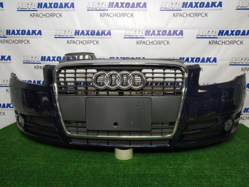 Бампер Audi A4 B7 ALT 2004 передний передний, темно-синий (P7 / Z5J), с омывателями фар, решеткой