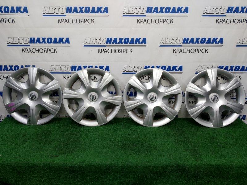 Колпаки колесные Nissan Tiida C11 HR15DE 2008 Оригинал, R15 комплект 4 шт, есть потертости,