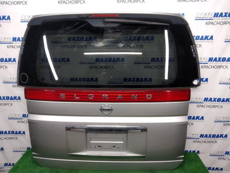 Дверь задняя Nissan Elgrand ME51 VQ25DE 2004 задняя В сборе, серебристая (KY0), 2 модель (рестайлинг),