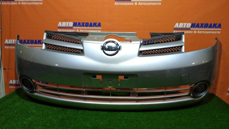 Бампер Nissan Note E11 HR15DE 2005 передний 1мод. есть вмятина лом низ решетки +туманки Valeo