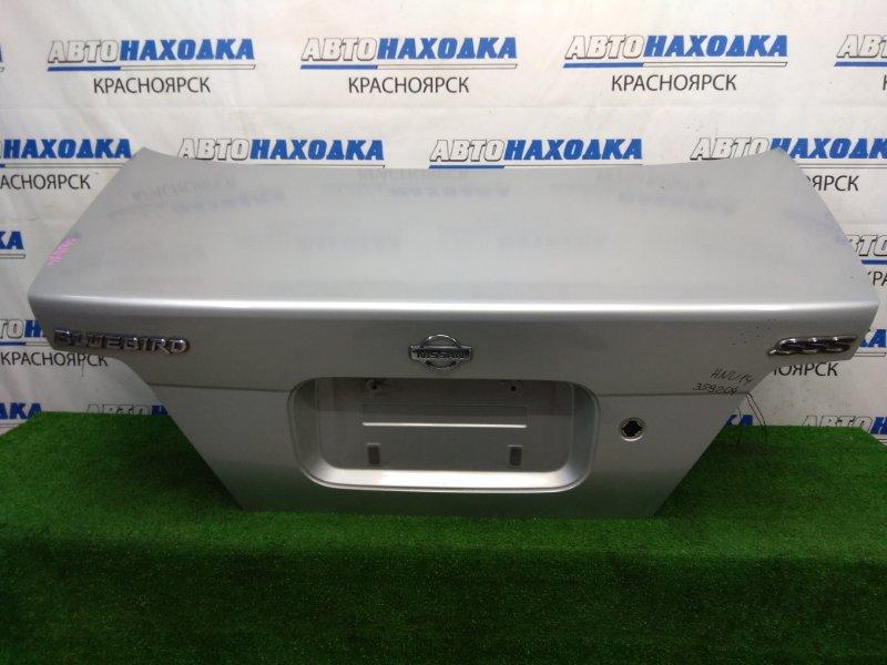 Крышка багажника Nissan Bluebird HNU14 SR20DE 1996 задняя В целом ХТС, серебристая (KL0), без личинки,