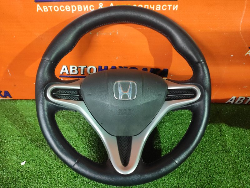 Руль Honda Fit GE6 L13A КОЖА. +ПОДУШКА. БЕЗ ЗАРЯДА прошит красной ниткой. состояние