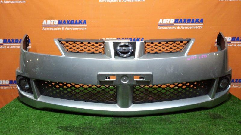 Бампер Nissan Wingroad WFY11 QG18DE 2001 передний Aero 2 мод. цвет KY0 под покраску+решетки +туманки valeo