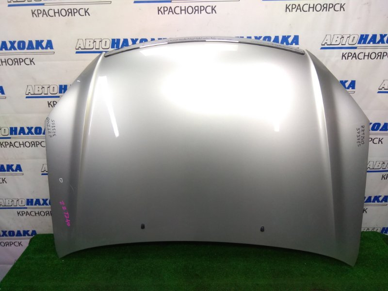Капот Toyota Premio ZZT240 1ZZ-FE 2001 передний Серебристый (1C0), хром ОК, есть мелкая вмятинка,